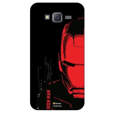 Red And Black Colour Iron Man Face Illustration Black  Samsung Galaxy On7 Case Cover