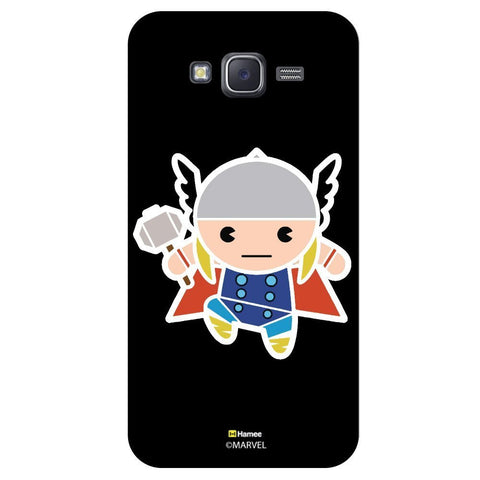 Cute Thor Holding Hammer Illustration On Black  Samsung Galaxy J7 Case Cover
