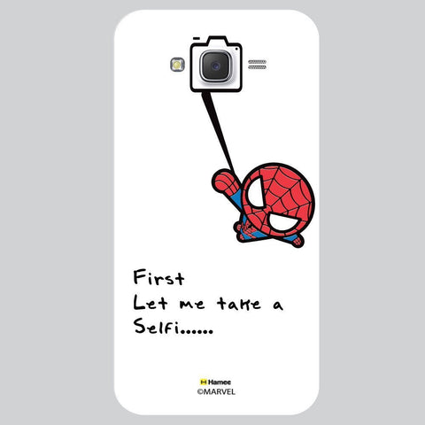 Cute Spider Man Selfie With Quote Black White Samsung Galaxy J7 Case Cover