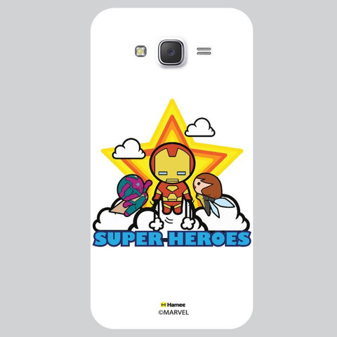 Cute Super Heroes With Big Glowing Star White Samsung Galaxy J7 Case Cover