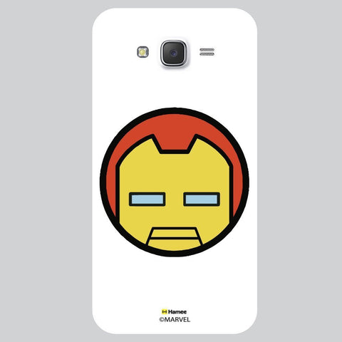 Cute Iron Man Flat Face Design White Samsung Galaxy J7 Case Cover