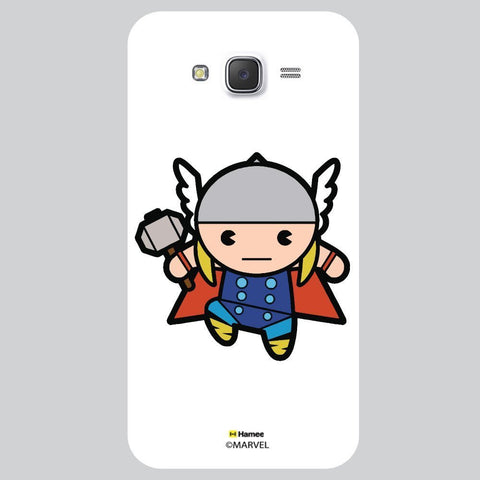 Cute Thor Holding Hammer Illustration On White Samsung Galaxy J7 Case Cover