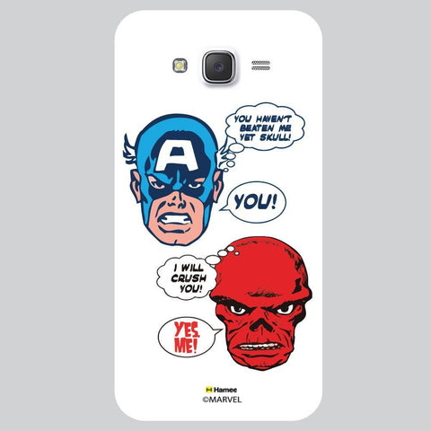 Captain America Conversation Dailog Bubble Illustration On Black White Samsung Galaxy J7 Case Cover