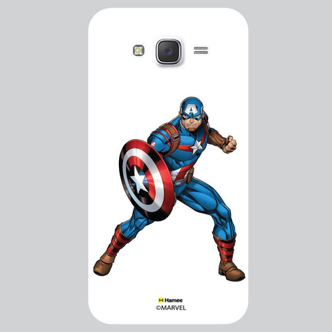 Captain America Action Pose White Samsung Galaxy J7 Case Cover