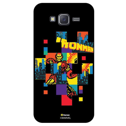 Iron Man Colourful Pixels Black  Samsung Galaxy J7 Case Cover