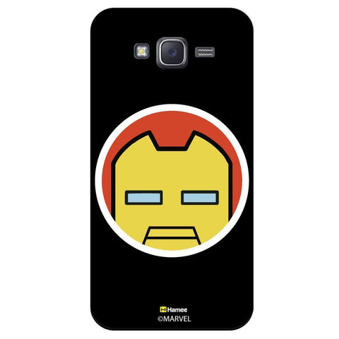 Cute Iron Man Flat Face Design Black  Samsung Galaxy J5 Case Cover