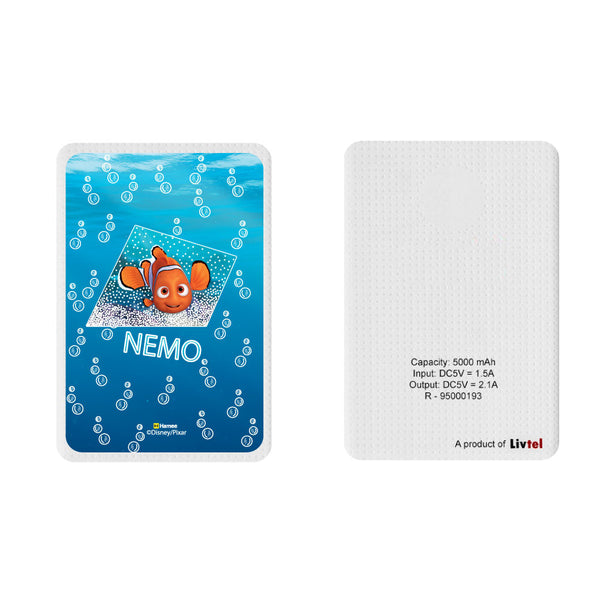 Livtel x Hamee Disney Pixar Licensed Finding Dory 5000 mAh PowerBank with LED indicators and Reversible Micro-USB cable (Nemo / Name)