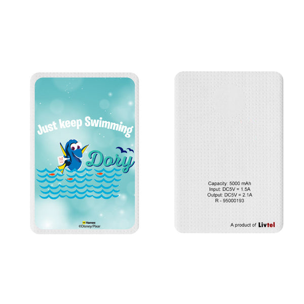 Livtel x Hamee Disney Pixar Licensed Finding Dory 5000 mAh PowerBank with LED indicators and Reversible Micro-USB cable (Dory / Just Keep Swimming)
