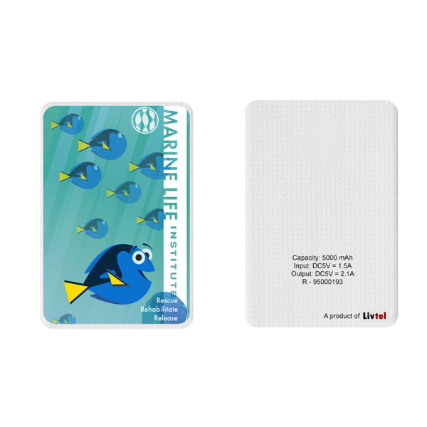 Livtel x Hamee Disney Pixar Licensed Finding Dory 5000 mAh PowerBank with LED indicators and Reversible Micro-USB cable (Dory / Marine)