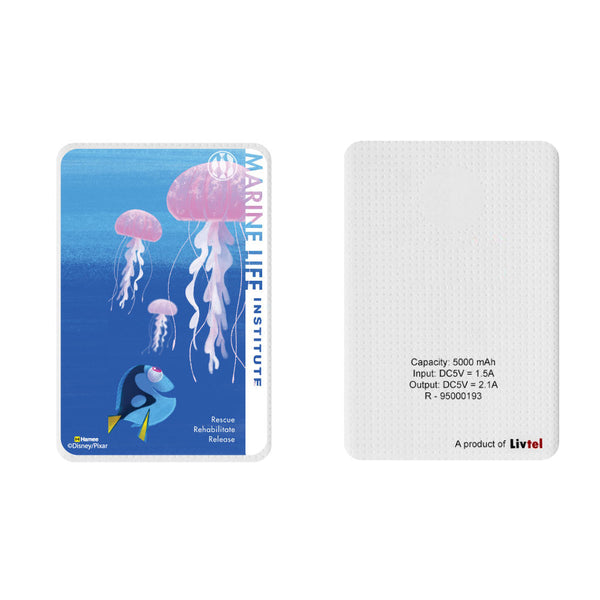 Livtel x Hamee Disney Pixar Licensed Finding Dory 5000 mAh PowerBank with LED indicators and Reversible Micro-USB cable (Dory Jellyfish / Marine)