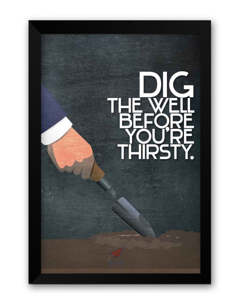 Framed Poster | NASSCOM 10000 Startups 'Thirsty Well' Quote Matte Laminated Framed Poster PosterGuy.in