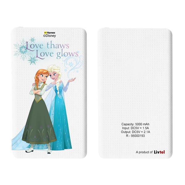 Livtel x Hamee Disney Princess Licensed Frozen 5000 mAh PowerBank with LED indicators and Reversible Micro-USB cable (Anna Elsa / Love Thaws)