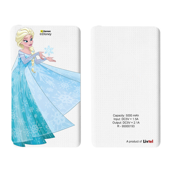 Livtel x Hamee Disney Princess Licensed Frozen 5000 mAh PowerBank with LED indicators and Reversible Micro-USB cable (Elsa)