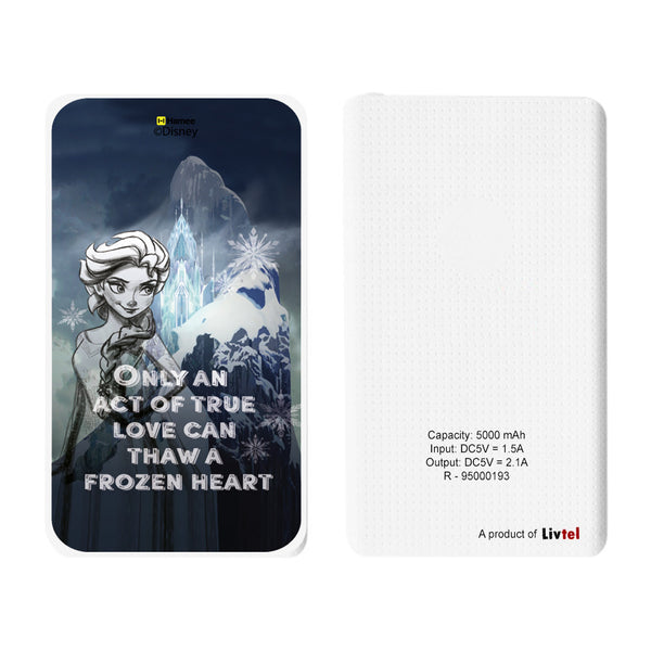 Livtel x Hamee Disney Princess Licensed Frozen 5000 mAh PowerBank with LED indicators and Reversible Micro-USB cable (Elsa / Act)