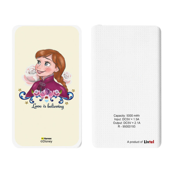Livtel x Hamee Disney Princess Licensed Frozen 5000 mAh PowerBank with LED indicators and Reversible Micro-USB cable (Anna / Yellow)