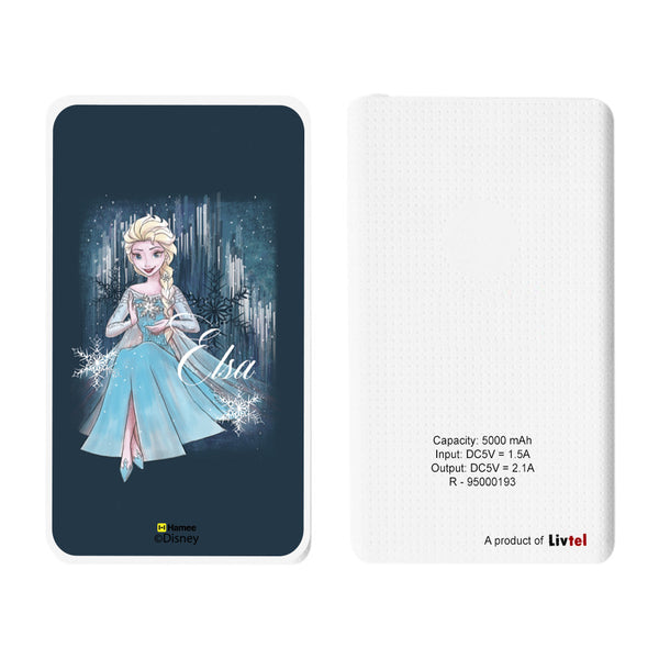 Livtel x Hamee Disney Princess Licensed Frozen 5000 mAh PowerBank with LED indicators and Reversible Micro-USB cable (Elsa / Blue)
