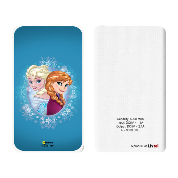 Livtel x Hamee Disney Princess Licensed Frozen 5000 mAh PowerBank with LED indicators and Reversible Micro-USB cable (Anna Elsa / Blue)