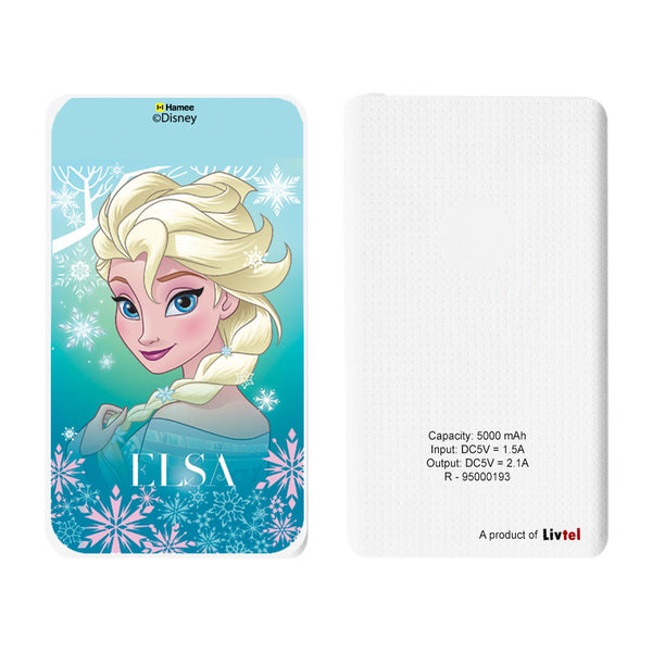 Livtel x Hamee Disney Princess Licensed Frozen 5000 mAh PowerBank with LED indicators and Reversible Micro-USB cable (Elsa / Light Blue)
