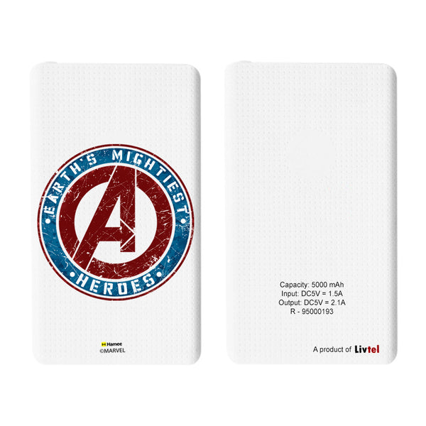Livtel x Hamee Marvel Licensed Avengers 5000 mAh PowerBank with LED indicators and Reversible Micro-USB cable (Avengers / Logo)