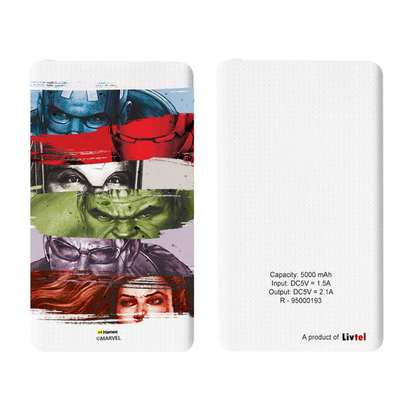 Livtel x Hamee Marvel Licensed Avengers 5000 mAh PowerBank with LED indicators and Reversible Micro-USB cable (Avengers Group 1)