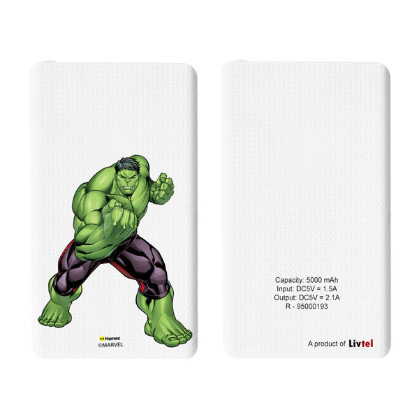 Livtel x Hamee Marvel Licensed Avengers 5000 mAh PowerBank with LED indicators and Reversible Micro-USB cable (Hulk / Pose)