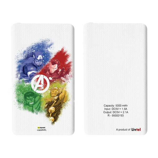 Livtel x Hamee Marvel Licensed Avengers 5000 mAh PowerBank with LED indicators and Reversible Micro-USB cable (Avengers Group 2)