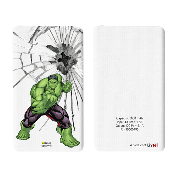 Livtel x Hamee Marvel Licensed Avengers 5000 mAh PowerBank with LED indicators and Reversible Micro-USB cable (Hulk / Smash)