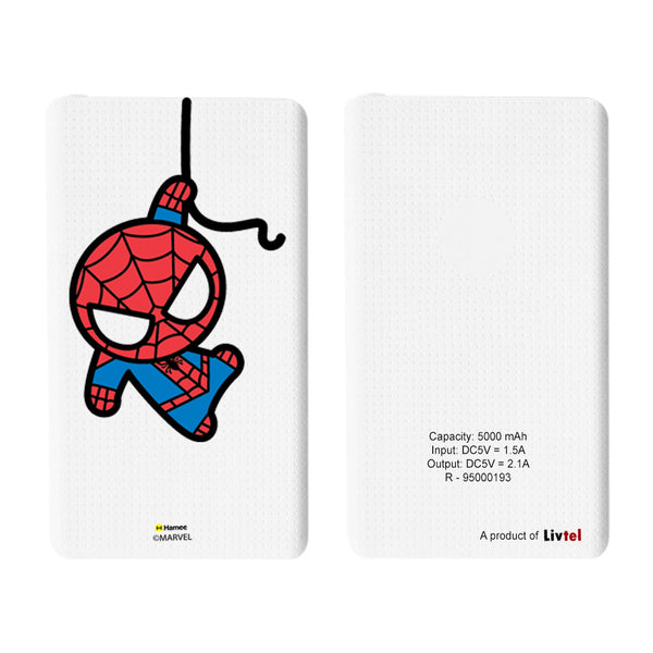Livtel x Hamee Marvel Licensed Avengers 5000 mAh PowerBank with LED indicators and Reversible Micro-USB cable (Kawaii / Spiderman Big)