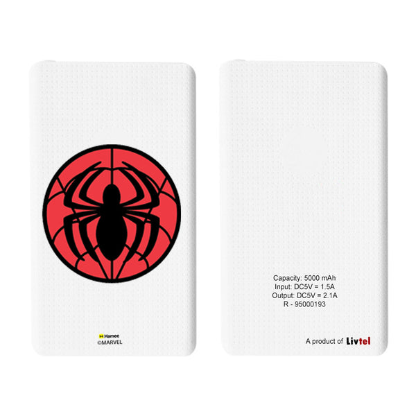 Livtel x Hamee Marvel Licensed Avengers 5000 mAh PowerBank with LED indicators and Reversible Micro-USB cable (Spiderman / Logo)