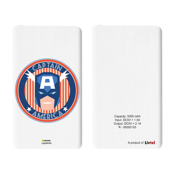 Livtel x Hamee Marvel Licensed Avengers 5000 mAh PowerBank with LED indicators and Reversible Micro-USB cable (Captain America / Logo Face)