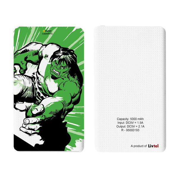 Livtel x Hamee Marvel Licensed Avengers 5000 mAh PowerBank with LED indicators and Reversible Micro-USB cable (Hulk / Green)
