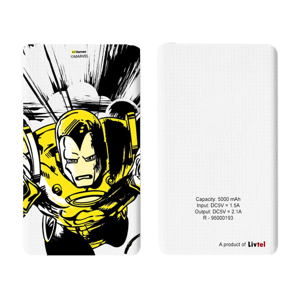 Livtel x Hamee Marvel Licensed Avengers 5000 mAh PowerBank with LED indicators and Reversible Micro-USB cable (Iron Man / Yellow)