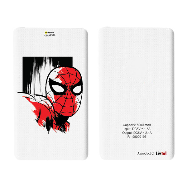 Livtel x Hamee Marvel Licensed Avengers 5000 mAh PowerBank with LED indicators and Reversible Micro-USB cable (Spiderman / Face)