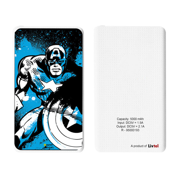 Livtel x Hamee Marvel Licensed Avengers 5000 mAh PowerBank with LED indicators and Reversible Micro-USB cable (Captain America / Blue Full)
