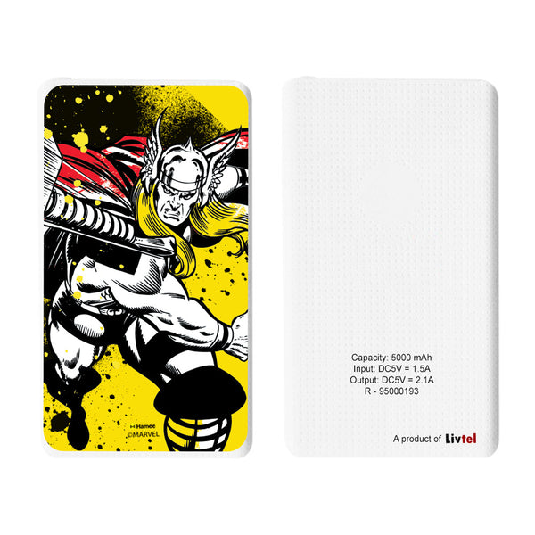 Livtel x Hamee Marvel Licensed Avengers 5000 mAh PowerBank with LED indicators and Reversible Micro-USB cable (Thor / Yellow Full)