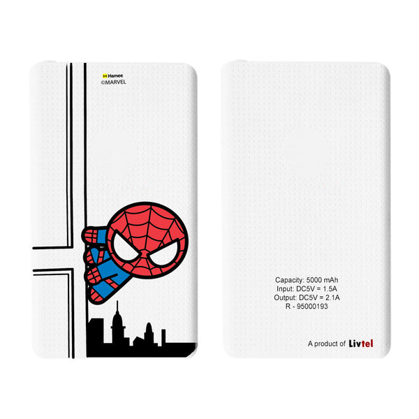 Livtel x Hamee Marvel Licensed Avengers 5000 mAh PowerBank with LED indicators and Reversible Micro-USB cable (Kawaii / Spiderman Buidling)