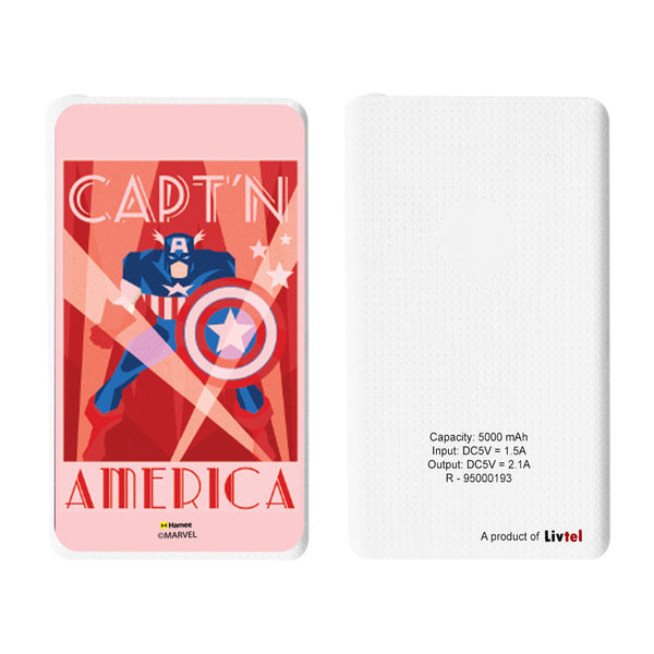 Livtel x Hamee Marvel Licensed Avengers 5000 mAh PowerBank with LED indicators and Reversible Micro-USB cable (Captain America / Art Deco)