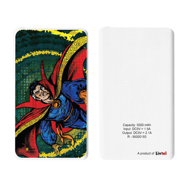 Livtel x Hamee Marvel Licensed Avengers 5000 mAh PowerBank with LED indicators and Reversible Micro-USB cable (Dr Strange / Comic)