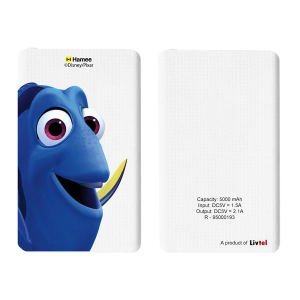 Livtel x Hamee Disney Pixar Licensed Finding Dory 5000 mAh PowerBank with LED indicators and Reversible Micro-USB cable (Dory / Big Face)