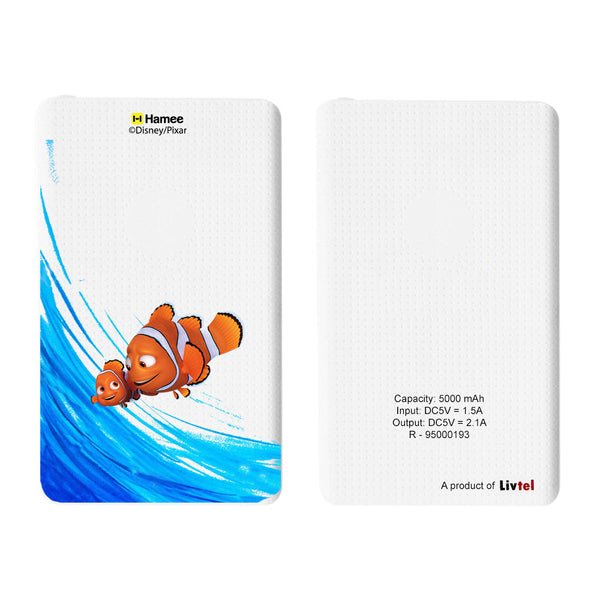 Livtel x Hamee Disney Pixar Licensed Finding Dory 5000 mAh PowerBank with LED indicators and Reversible Micro-USB cable (Nemo Marlin / Strokes)