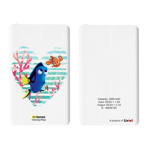 Livtel x Hamee Disney Pixar Licensed Finding Dory 5000 mAh PowerBank with LED indicators and Reversible Micro-USB cable (Nemo Dory / Heart)