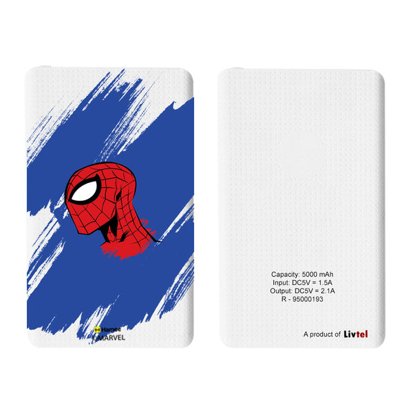Livtel x Hamee Marvel Licensed The Ultimate Spiderman 5000 mAh PowerBank with LED indicators and Reversible Micro-USB cable (Spider Man Paint)
