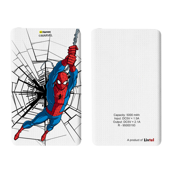 Livtel x Hamee Marvel Licensed The Ultimate Spiderman 5000 mAh PowerBank with LED indicators and Reversible Micro-USB cable (Swinging / Web)