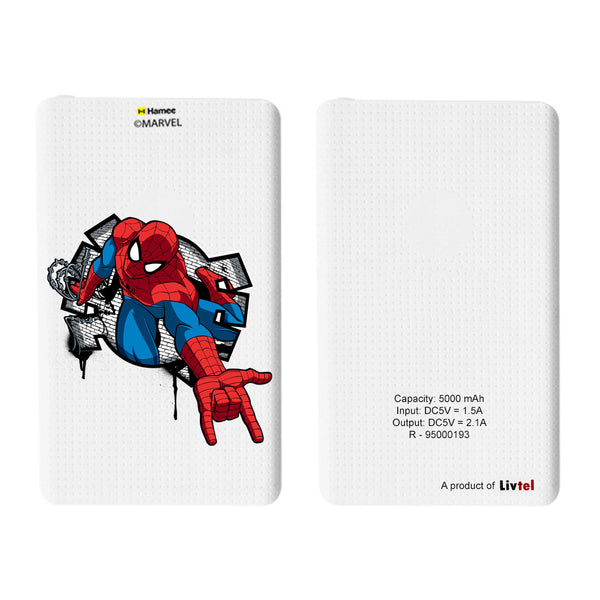 Livtel x Hamee Marvel Licensed The Ultimate Spiderman 5000 mAh PowerBank with LED indicators and Reversible Micro-USB cable (Spiderman / Hand)
