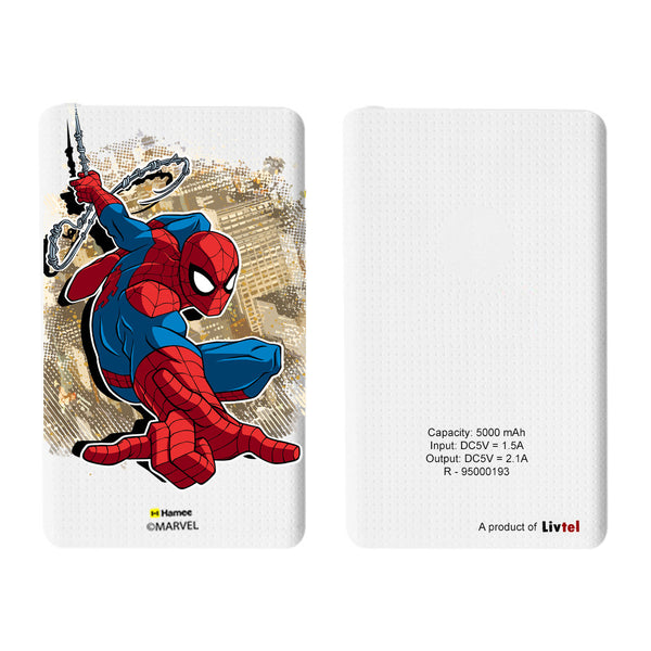 Livtel x Hamee Marvel Licensed The Ultimate Spiderman 5000 mAh PowerBank with LED indicators and Reversible Micro-USB cable (Spiderman / Brown)
