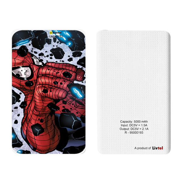 Livtel x Hamee Marvel Licensed The Ultimate Spiderman 5000 mAh PowerBank with LED indicators and Reversible Micro-USB cable (Spiderman / Smash)