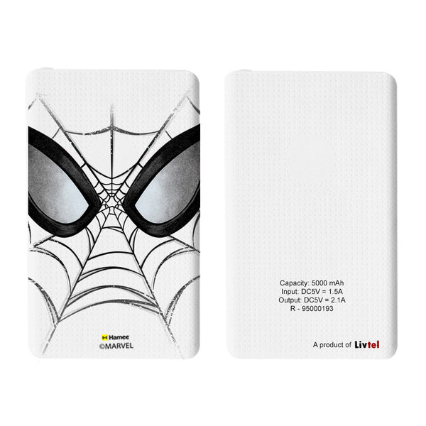 Livtel x Hamee Marvel Licensed The Ultimate Spiderman 5000 mAh PowerBank with LED indicators and Reversible Micro-USB cable (Face Web)