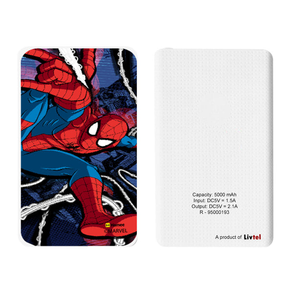Livtel x Hamee Marvel Licensed The Ultimate Spiderman 5000 mAh PowerBank with LED indicators and Reversible Micro-USB cable (Spiderman / Full Jump)