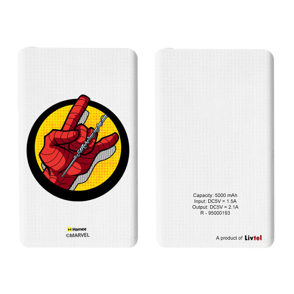 Livtel x Hamee Marvel Licensed The Ultimate Spiderman 5000 mAh PowerBank with LED indicators and Reversible Micro-USB cable (Hand)