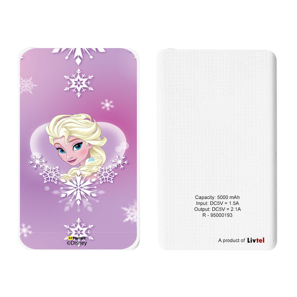 Livtel x Hamee Disney Princess Licensed Frozen 5000 mAh PowerBank with LED indicators and Reversible Micro-USB cable (Elsa / Purple)